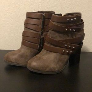 Brown, strappy, studded boots
